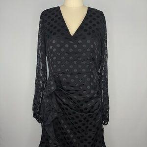 Bar III Black Dress sz 10 Dot Long Sleeve Ruffle
